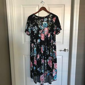 Black & Pink Floral Side-Pocket Hi-Low Dress
